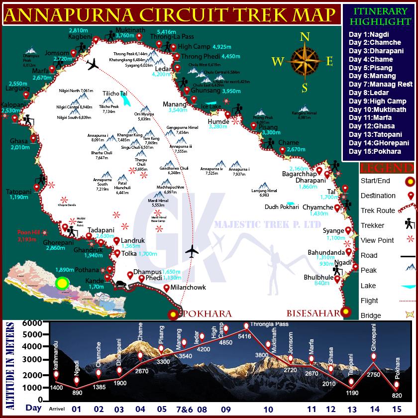 Annapurna Circuit Trek Map